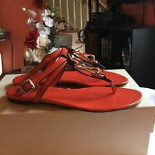 Burberry Reason Bright Coral Red Womens Sandals Sz 8 M NWB
