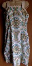"Ladies dress size 35"" vintage 1960s white green & purple pattern slip dress"