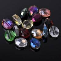10pcs 20x16mm Flat Oval Faceted Crystal Glass Loose Craft Beads Jewelry Findings