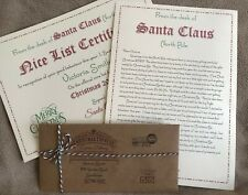 Personalised Letter from Santa Father Christmas & Nice List Certificate