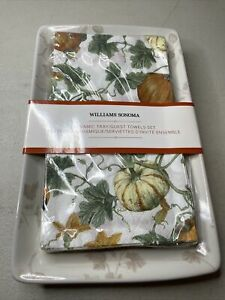 William Sonoma ceramic tray & Pumpkin Fall paper guest towels Thanksgiving