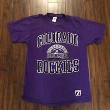 Vintage Colorado Rockies Logo 7 T-Shirt Purple Large Single Stitch