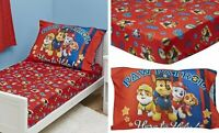 Paw Patrol Toddler Fitted Sheet Red 2 Piece Bed Set Bedding Washable Skye Rubble
