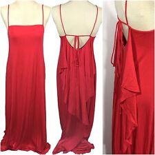 Rachel Pally Lyle Maxi Long Dress Granita Red Drape Tie Back Womens Small S NWT