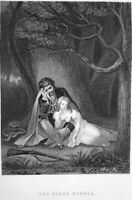 PEASANT ROBBER KILLS PRETTY YOUNG CUTE GIRL IN FOREST ~ 1880 Art Print Engraving
