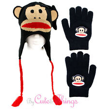 Paul Frank Face Knitted Laplander Beanie with Ear Hat and Gloves Set