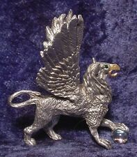 Pewter Griffin with Green Crystal Eyes & Holding Crystal Ball