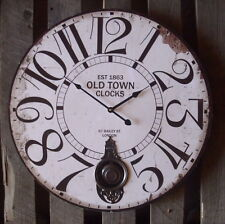 Large Pendulum Wall Clock Old Town Country Style Antique Nostalgia 58cm New