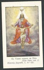 Estampa antigua de la Santissima Trinidad andachtsbild santino holy card santini