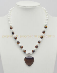 8mm White Shell Pearl Tiger's Eye Round Beads & Heart Pendant Necklace 18''