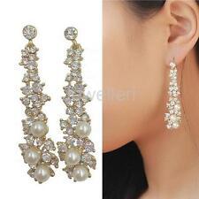 Long Dangle Rhinestone Crystal Pearl Earrings Charm Bridal Wedding Jewelry