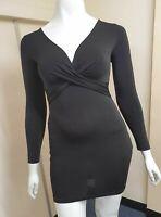 WOMEN'S SEXY BLACK DRESS SHORT MICRO MINI PLUNGE NECK BODYCON CLUBING PARTYWEAR