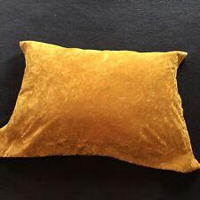 60s 70s Crushed Velvet Deep Yellow Gold Pillow Sham 33x25 Vintage Retro