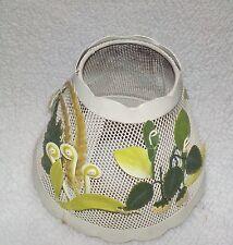 VINTAGE METAL MESH LAMP SHADE RAISED DESIGN  FLOWER STRAWBERRY FRONDS GREENS