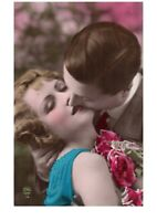 Open Mouth Kiss Fancy Romantic Couple Victorian Lovers Postcard Hand Colored
