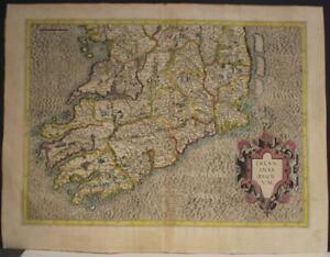 SOUTH IRELAND 1595 GERARD MERCATOR UNUSUAL ANTIQUE ORIGINAL COPPER ENGRAVED MAP