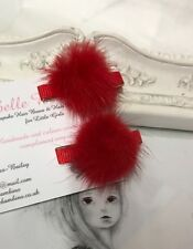 New Pair Of Baby Girls 3cm Mink Pom Clips Hair Slide Fur Baby Red