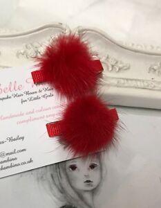 New Pair Of Baby Girls 3cm Mink Pom Clips Hair Slide Fur Baby Red