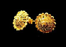 22 CT HANDMADE YELLOW GOLD  ELEGANT STUD SCREW BACK EARRINGS UNIQUE DESIGN