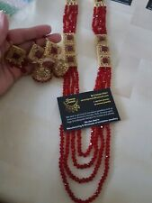 *UK SELLER* Indian Bollywood Designer  long Rani haar Jewellery set pearl