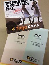 Yugo Cars by Zastava UK range sales brochure, price and dealer lists - 1983