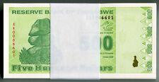 Zimbabwe 500 Dollars x 50pcs 2009 P98 1/2 bundle consecutive UNC currency bills