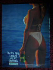 1988 Print Ad Mickey's Beer ~ Sexy Girl White Bikini First Noticed her Big Mouth