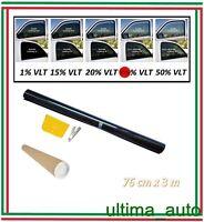 2x PROFESSIONALE ANTIGRAFFIO PELLICOLA OSCURANTE VETRI AUTO NERO 35% 76cm x 3m