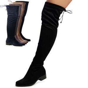Damenschuhe Velours Overknees Stiefel Overknee Plateau Boots