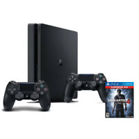 PlayStation 4 Slim 1TB Console +  Extra DualShock 4 Controller + Uncharted 4
