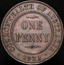 More details for 1931 | australia george v one penny 'fallen 1' | bronze | coins | km coins