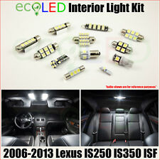 For 2006-2013 Lexus IS250 IS350 ISF WHITE LED Interior Light Accessories Kit 16x