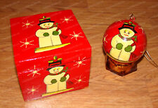 Snowman Box & Christmas Ball Ornament (4673) Lacquer Wood, Hand-Painted