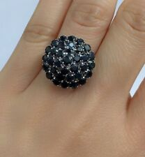 Solid .925 Silver Round Cluster Ring, Natural Sapphire, Size 8. 8.45 Grams