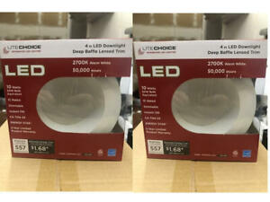"""2 PACK Designers Fountain 1D4WHWH-2C27 4"""" Led Downlight, Deep Baffle, 2700K /598"""