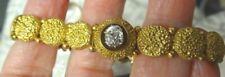 ELEGANT GOLD VICTORIAN ANTIQUE BUTTON BRACELET MINT CONDITION 85-90PT DIAMOND
