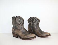 Women's Vintage ASH Cowboy Biker Ankle Grey Distressed 100% Leather Boots UK5