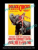 OLD LARGE HISTORIC PHOTO OF KINGSTON ONTARIO, THE  POLACK CIRCUS POSTER c1940 2