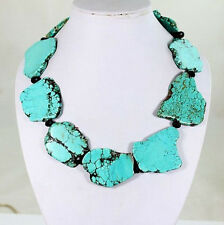 Shining Crystal Turquoise Slice Handmade Princess Necklace Woman Gift Party