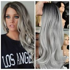 Black Gray Ombre Color Synthetic Hair Wigs Body Wave Silver Grey Heat Resistant