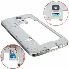 Silver Middle Body Frame Bezel Plate Camera Cover For Samsung Galaxy S5 i9600