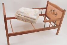 1950s Wooden Doll Bed w/ Bunny Family Headboard Pastel Spindles + Baby Blankets