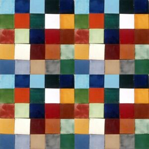 50 Assorted Solid Mexican Ceramic 2x2 inch Hand Made Tiles
