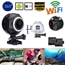16MP 4K WiFi 360° Panoramic Camera HD Waterproof Sports Action DV W/ 2 Batteries