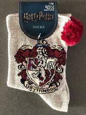 Harry Potter Damen Socken Gryffindor Strümpfe Grau Glitzer Pompoms 37-42 Primark