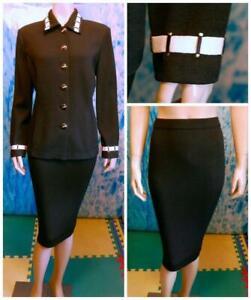 St. John Collection Knits Black Jacket & Skirt L 12 10 2pc Suit Cream Trim