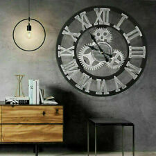 More details for uk large outdoor garden wall clock big roman numerals giant open face metal 60cm