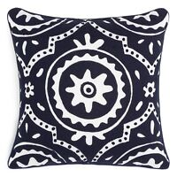 """Sky Bedding Patchwork Crewel 18"""" Square Decorative Pillow Indigo H5021"""