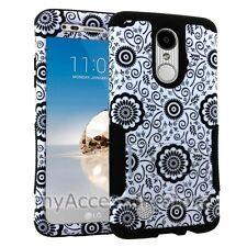 For LG Phoenix 3 /LG Fortune Flowers Design Hybrid Rugged Armor Phone Case Cover