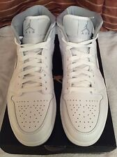 Nike air Jordan 1 mid men's trainers brand new in box uk 10 white - wolf grey